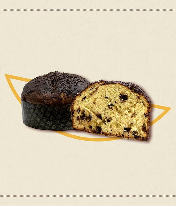Panettone artigianale - La Contessa - chicche di cioccolato con cioccolato di Modica IGP - granella di cioccolato in tre formati