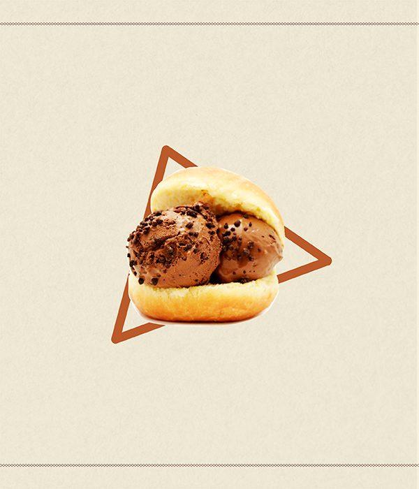 Brioche con gelato - La Contessa - chicche di cioccolato con cioccolato di Modica IGP - granella di cioccolato in tre formati